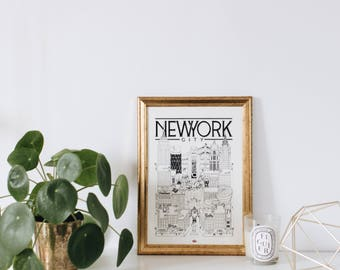 New York / A4 / Docteur Paper / Travel With Me / Illustration / Voyage / Affiche / Ville / Décoration murale / Noir et Blanc / Map / Design