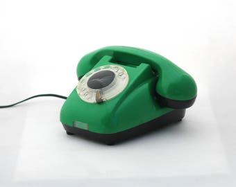 Vintage green rotary telephone, Bakelite Mid century phone, Dial Desk phone RWT, Home and Office Decor