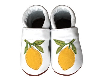Leather Baby Booties, Lemon, Baby Shoes, Infant Newborn Nursery Children YellowBeige White