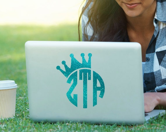 Zta zeta tau alpha crown monogram decal sorority decal laptop