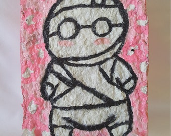 How to keep a Mummy Oni-Child Cherry Blossom Recycled Paper Mixed-Media