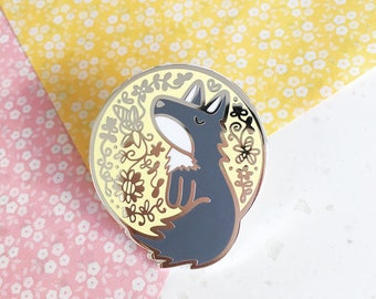 Moon Wolf - Hard enamel pin - kawaii accessories, cute enamel pin, wolf lapel pin, wolf enamel pin, wolf pin, cute wolf enamel pin, moon pin