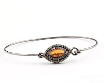 MEMORIAL DAY SALE 1 Pc Pave Diamond 925 Sterling Silver Bangle with Citrine-- Designer Bangle Size : 2.5 To 2.375 Bd022