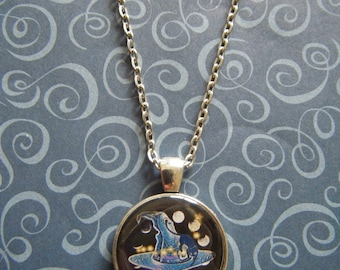 The Witch's hat  silver round pendant necklace