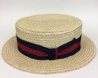 Vintage Mens Italian Straw Boater Hat Stark & Legum 7 5/8