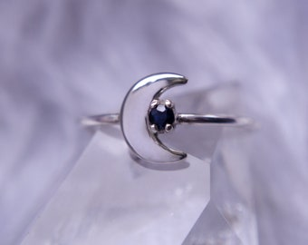 Sterling silver sapphire moon ring, crescent moon symbol prong set fine jewellery ring