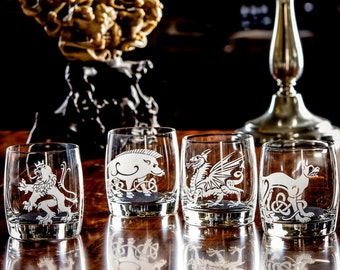 Scottish, Irish and Medieval Wedding Gifts, Clan Crests, Custom Engraved Wine, Whiskey or Beer Glasses