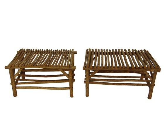 Tablas de rama/palo rústico u otomanos rama muebles cabaña