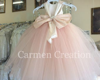 Mini Bride Flower Girl Dress Blush Pink NB