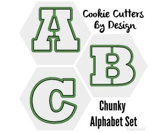 Alphabet Cookie Cutters / Letter Cookie Cutters / Chunky Alphabet Cookie Cutters / 3D Printed Cookie Cutters / Cookie Cutters