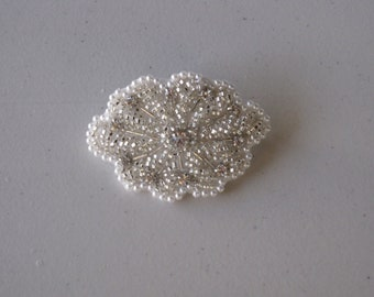 Crystal Beaded Flower Ivory Pearl French Barrette, for Bridal, weddings, parties, special occasions