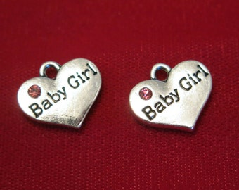 """5pc """"Baby girl"""" charms in antique silver style (BC831)"""