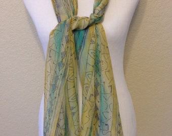 Vintage Yellow, Blue, and Turquoise Extra Long Sheer Scarf, 69 Inches Long and 15 Inches Wide Previously 20 Dollars ON SALE
