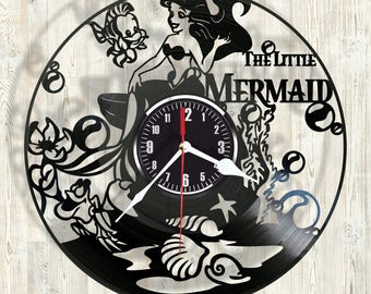 The LITTLE MERMAID vinyl record wall clock best eco-friendly gift for any occasion