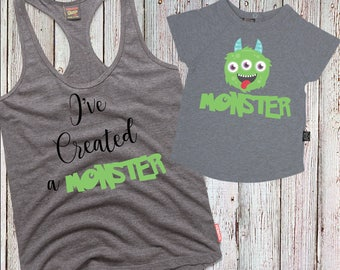 IRON ON -I've Created A Monster- Mother & Son  Matching Iron-on Transfer Printable