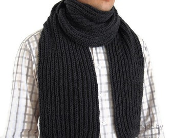 Mens Scarf, Hand Knit Mens Scarf in charcoal grey. Dark gray scarf