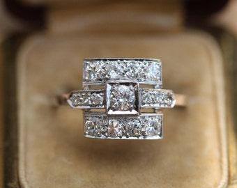 1.75 ctw Platinum and diamond art deco ring size 11 sizable