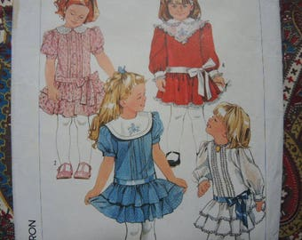 vintage 1980s Simplicity sewing pattern 7432 girls dropped waist dress size 5