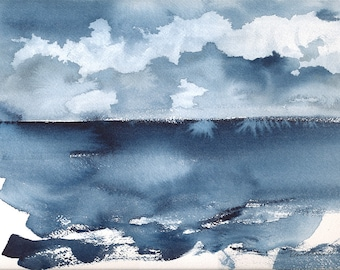 Monday, Original Abstract Waterscape Painting, Watercolour, Indigo Blue