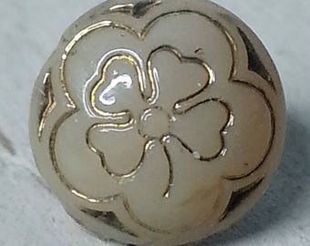 Antique Dimi Tan Glass 4 Leaf Clover Picture Button ~ 5/16 inch 8mm ~ Diminutive Glass Gold Luster Pictorial Sewing Button ~ 4 Way Box Shank