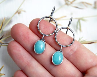 Silver earrings with gemstones, dangle earrings, gemstone earrings, artisan silver earrings, amazonite earrings, gemstone dangle earrings