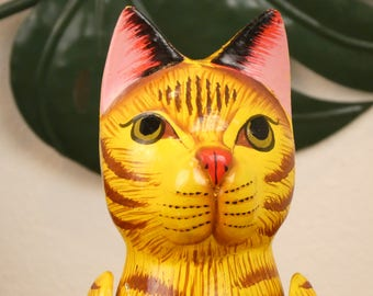 The Red cat - hinged wooden statue - Cat wooden doll