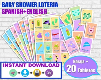 Baby shower Lotería Ingles y Español. Juego para baby shower. PDF para imprimir. Baby shower bingo. English and Spanish. Instant download