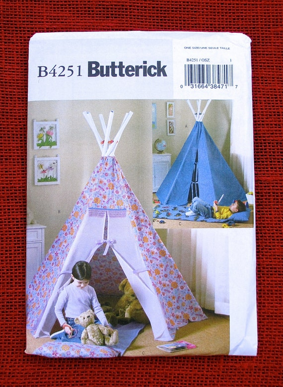 Butterick Sewing Pattern B4251 Teepee, PVC Tent Hide-away, Indoor ...