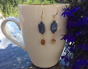 Kyanite and citrine dangle earrings