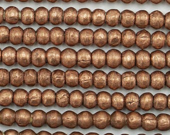 210 Small Round Copper Handmade Ethiopian Beads (4mm) - Recycled Hand-forged African Beads - Upcycle Beads -Tribal Trade Beads (201-ETH-MET)