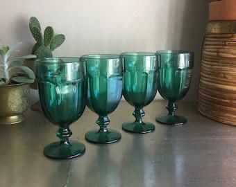vintage Libbey Duratuff juniper green teal green goblets emerald stemmed glassware set of 4