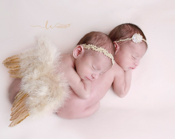 Gold & Tan Feather Angel Wings with Gold Glitter AND/OR choice of two Headbands, fotograf, photo prop, Lil Miss Sweet pea