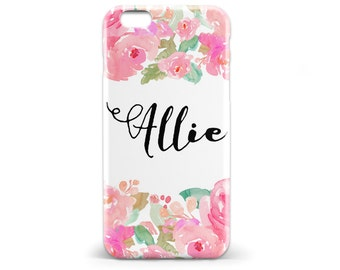 1406 // Pink Floral Name Phone Case iPhone 5/5S, 6/6S, 6+/6S+ Samsung Galaxy S5, S6, S6 Edge Plus, S7
