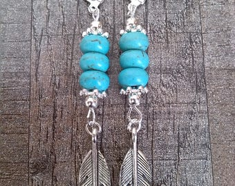 Feathers and turquoise Bohemian earrings