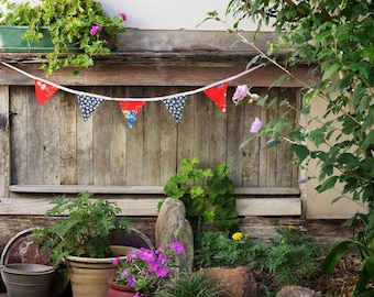 Good Will Bunting Red Navy Floral Bunting