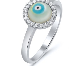 Blue Evil Eye CZ Ring, Delicate CZ Ring, Evil Eye Silver Ring, Talisman Ring, Lucky Jewelry, Protection Jewelry,Protection Ring