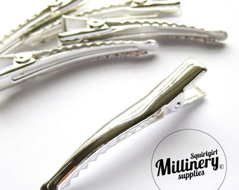5 Pcs. Silver Plated Metal Alligator Hair Clips for fascinators and millinery