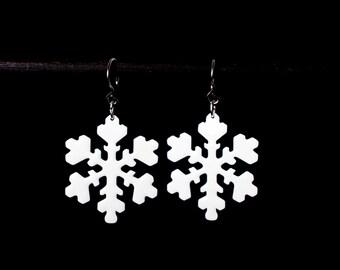Snowflake Earrings, Enamel Earrings, White Earrings, Winter Earrings, Snowflake jewelry, Winter Jewelry, Stainless Steel, Laser Cut Jewelry