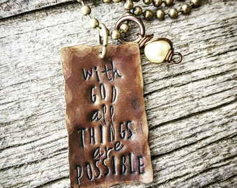With God all things are possible, inspirational necklace