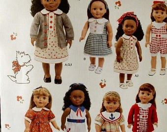 """Sewing Pattern 18"""" American Girl Doll Clothes  1443 Uncut"""