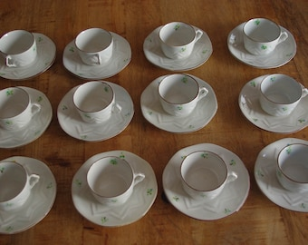 Lot of 12 coffee cups + dishes 'EMMA' Vintage. Vintage cups game. Old cups game. Porcelain vintaage. Collecting.