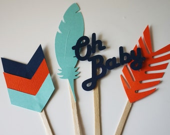 Tribal cupcake topper/ tribal baby shower/ tribal birthday (12 COUNT)