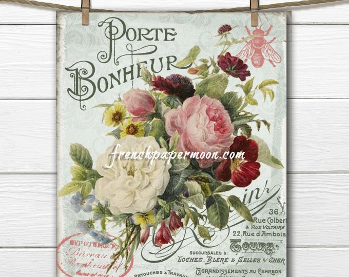 Digital Shabby French Botanical Antique Flowers Vintage Bouquet French Graphics, French Pillow Large Size Graphic Transfer Image