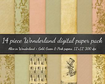 Alice in Wonderland Digital Scrapbook Paper - 14 Piece Alice Illustrations, Stripes, Parchment - Antique Vintage Ephemera Paper