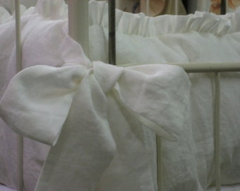 Portable Crib Bumpers in Bright White Washed Linen-One Inch Ruffles and Sash Ties-Zip Closures-Removable Bumper Pad Inserts-Mini Crib Skirt