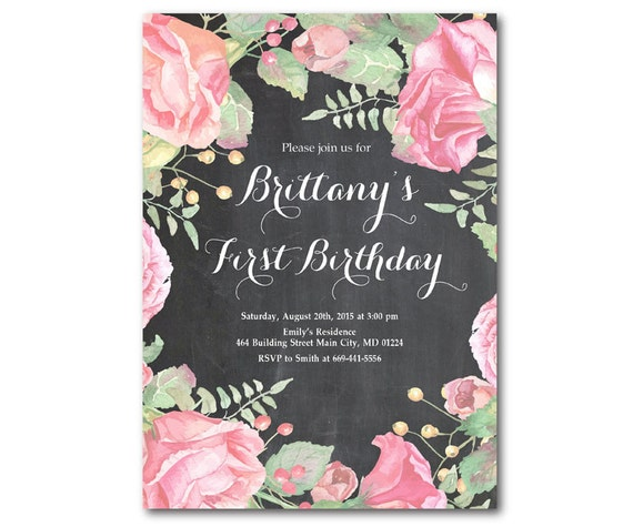 1st birthday invitation first baby girl birthday floral