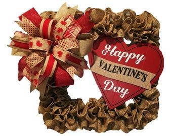 Valentine's Day Wreath, Burlap Square Wreath, Natural Wreath, Country Wreath, Wall Decor, Custom Wreath, Square Wreath, Home Decor