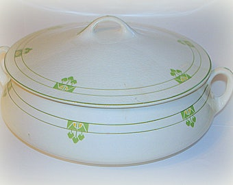 Covered Serving Bowl Casserole Vintage (May be Antique) TST Verona China Taylor Smith Taylor White with Green & Yellow Excellent Condition