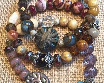 Gemstone bracelet stack, stretch bracelet set with agate, jasper, garnet&crystal, boho style stackable bracelets, gemstone beaded bracelets