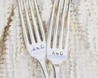 Personalized Wedding Forks - hand stamped with initials & dated handles,  wedding cake forks, wedding keepsake, monogrammed forks